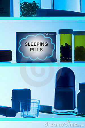 Free Sleeping Pills Medicine Cabinet  Royalty Free Stock Photos - 8762858