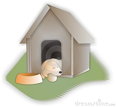 Sleeping Retriever in his Dog House