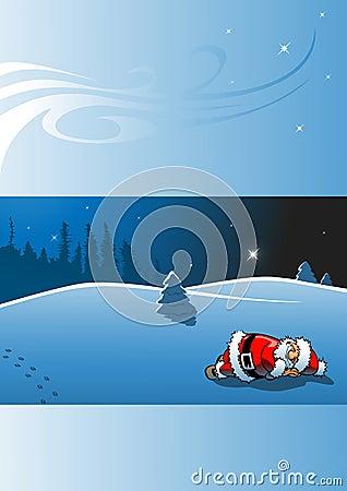 Sleeping santa claus - christmas card
