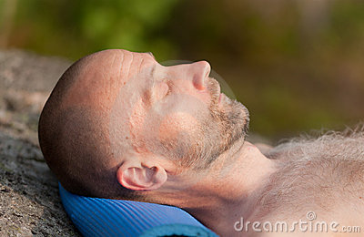Sleeping tired tourist