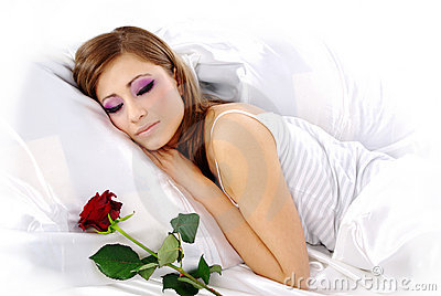 Sleeping woman with rose