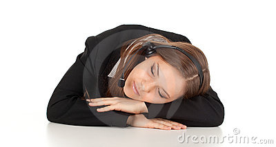 Sleeping young customer service operator girl