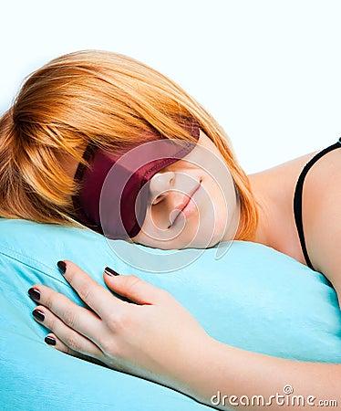Free Sleeping Young Woman In Sleep Eye Mask Royalty Free Stock Images - 27454919