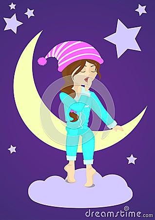 Sleepy girl on the moon