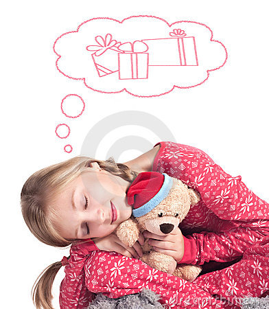 Sleepy girl with teddy bear