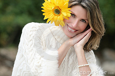 Sleepy Time - Gorgeous Woman with Yellow Flowers