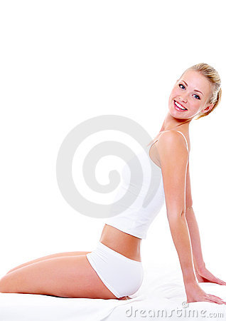 Slender body of young  smiling woman