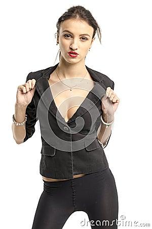 Free Slender Brunette Girl Removes A Business Suit Undressing Stock Photo - 62889810