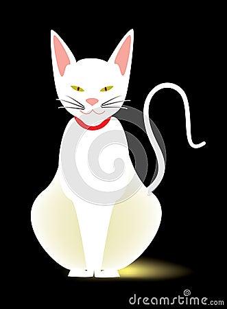 Slender white cat, abstract