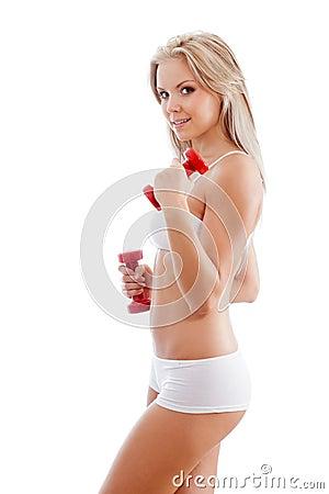 Slender woman wearing white underwear