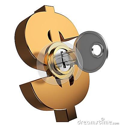 Sleutel gesloten dollarsymbool
