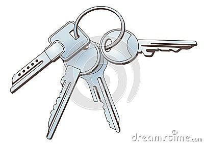 Sleutels op keychain