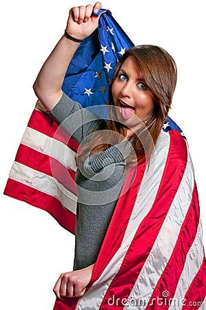 Slågen in flaggakvinna