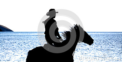 Slhouette Do Cowboy No Cavalo Fotos de Stock Royalty Free - Imagem: 26211808