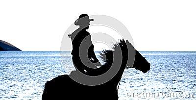 Slhouette kowboj na koniu