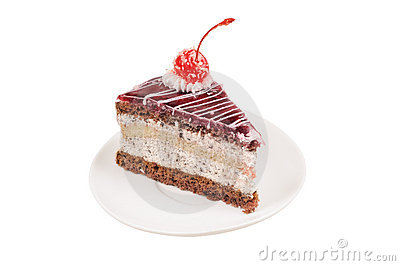 Slice Of Cake With Cherry Royalty Free Stock Images - Image: 17152589