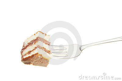 Slice of cake on a fork