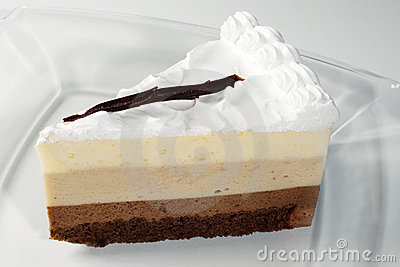 Slice of cake with nougat and chocolate