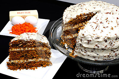 Slice of Carrot Cake with Ingredients