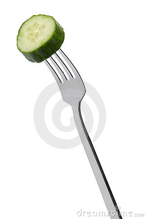 Slice of cucumber on fork