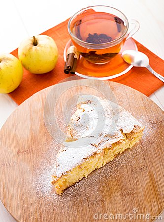 Slice of delicious fresh baked apple pie