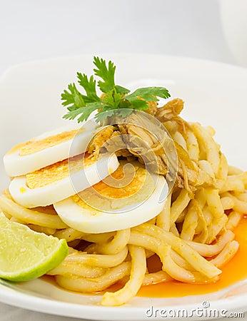 Slice egg chicken noodle