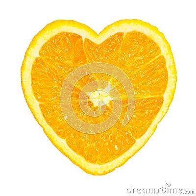 Slice of fresh orange heart shaped