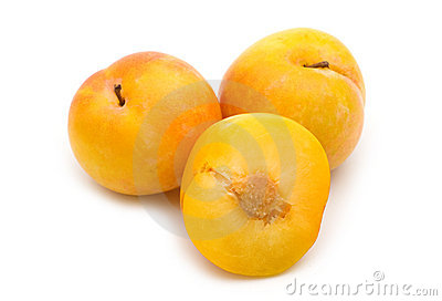Slice fresh yellow plum