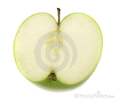 Slice of green apple on white