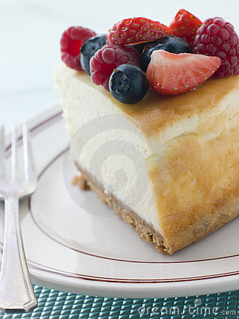 Slice Of New York Cheesecake On A Plate