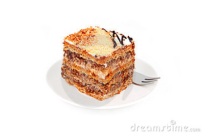 Slice of nut cream cake