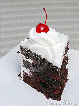 Free Slice Of Chocolate Black Forest Cake With A Cherry Royalty Free Stock Photos - 4730398