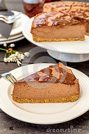 Free Slice Of Nutella Cheesecake Royalty Free Stock Photo - 54589355