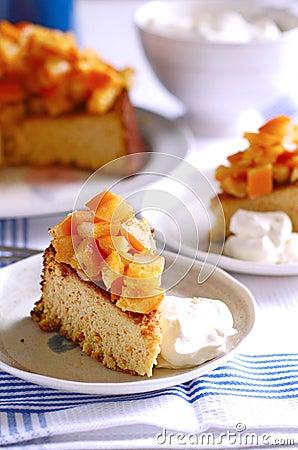 A slice of orange almond cake