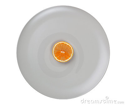 Slice of orange on a plate