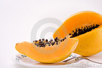 Slice Papaya Fruit with Seeds