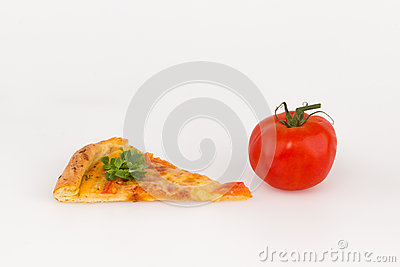 A slice of pizza and red tomato
