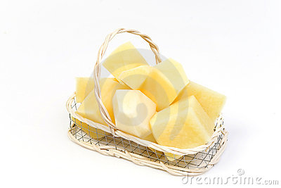 Slice potato in basket