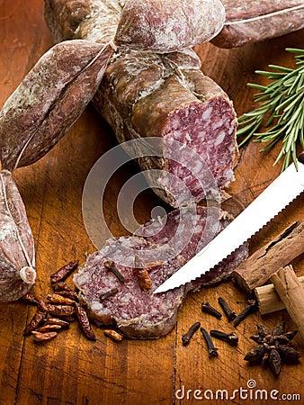Slice salami, susage and spice