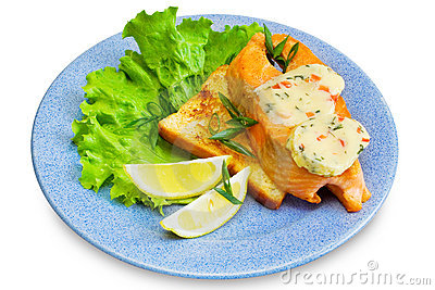 Slice of salmon on toast
