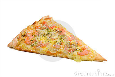 A slice of shrimp pizza