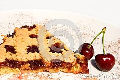 Slice Of Tart With Sour Cherry Jam