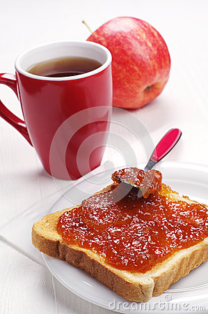 Slice toast bread with jam and tea