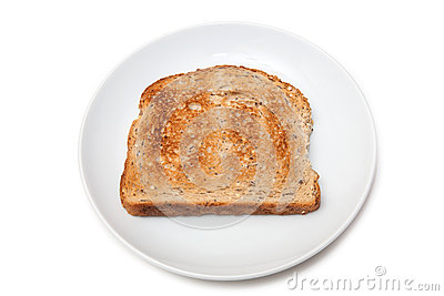 Slice of toast on plate