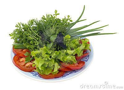 Sliced ​​vegetables on a plate Stock Photo