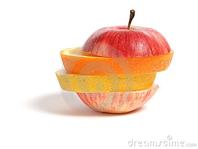 Sliced apple, orange and lemon