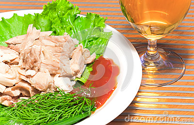 Sliced backed chicken with greens