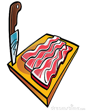 Sliced Bacon and Knife