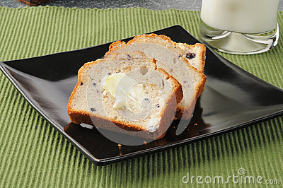 Sliced blueberry bread
