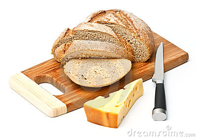 Sliced bread and cheese